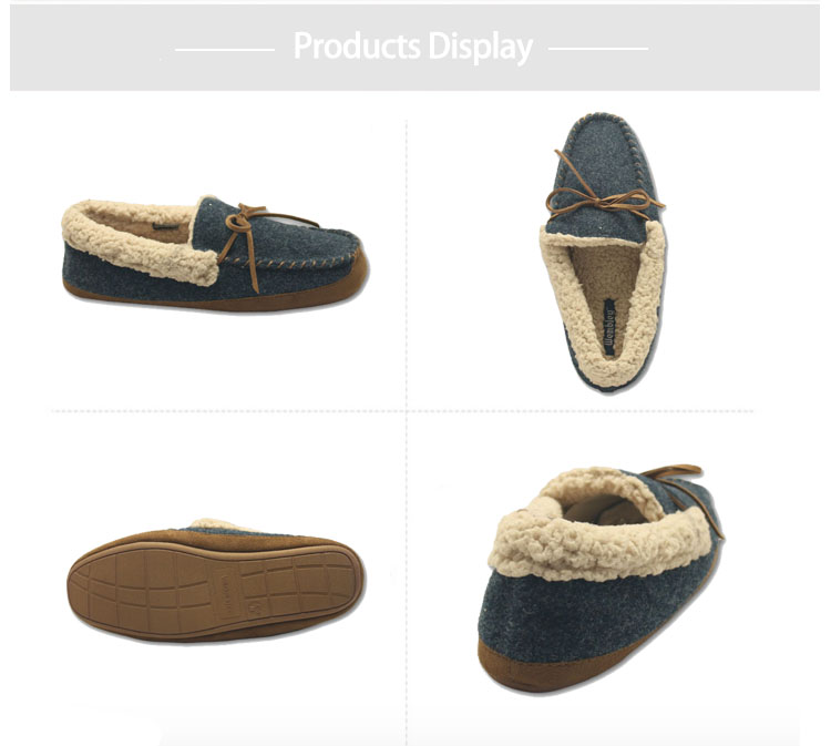 fbff578fd55b Woolen fabric warm flat ankle house moccasin winter slippers indoor for mens  with good price