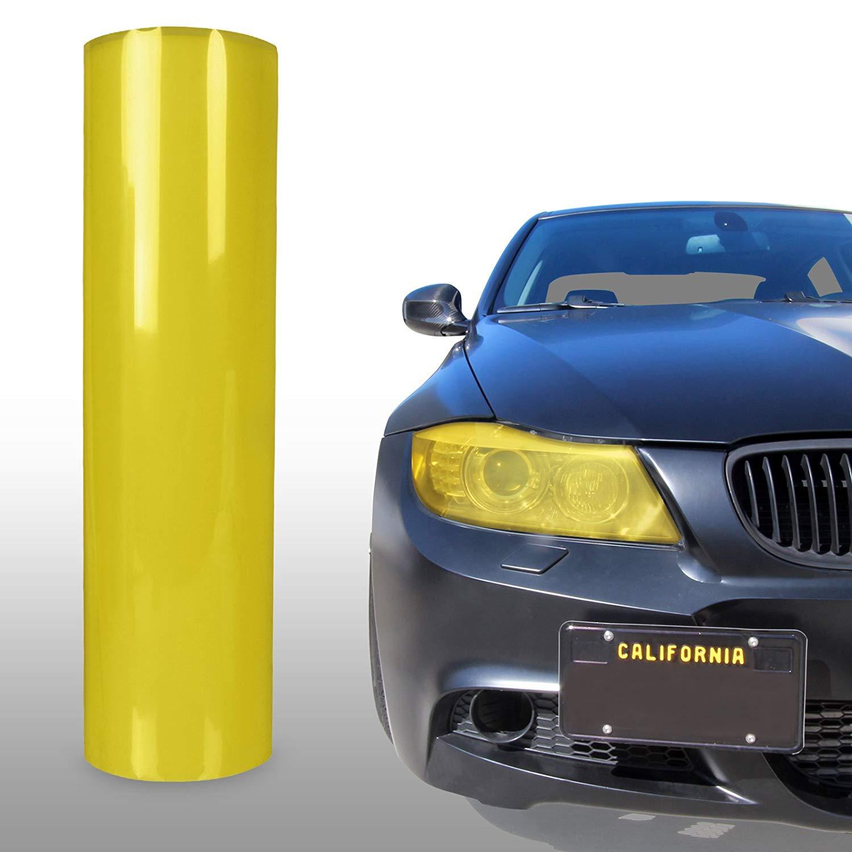 """*12/"""" x 24/"""" Neon Yellow Protective Tint Headlight Taillight Fog Lights Vinyl Film"""