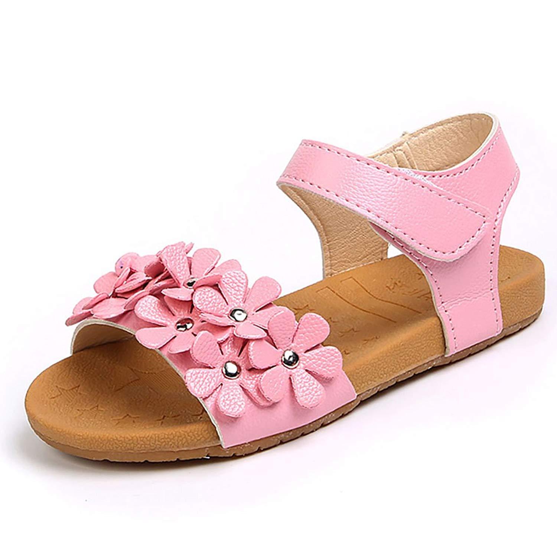 YIBLBOX Girls Flower Flat Sandals Summer Open Toe Ankle Strap Dress Sandals for Kids (Toddler/Little Kid)