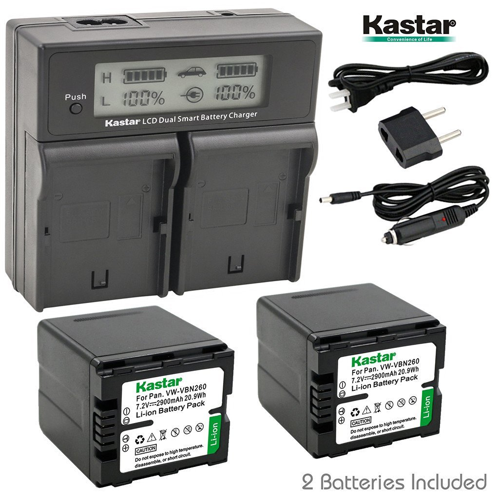 Kastar LCD Dual Smart Fast Charger & 2 x Battery for Panasonic VW-VBN260 and Panasonic HC-X800, HC-X900, HC-X900M, HC-X910, HC-X920, HC-X920M, HDC-HS900, HDC-SD800, HDC-SD900, HDC-TM900 Camcorder