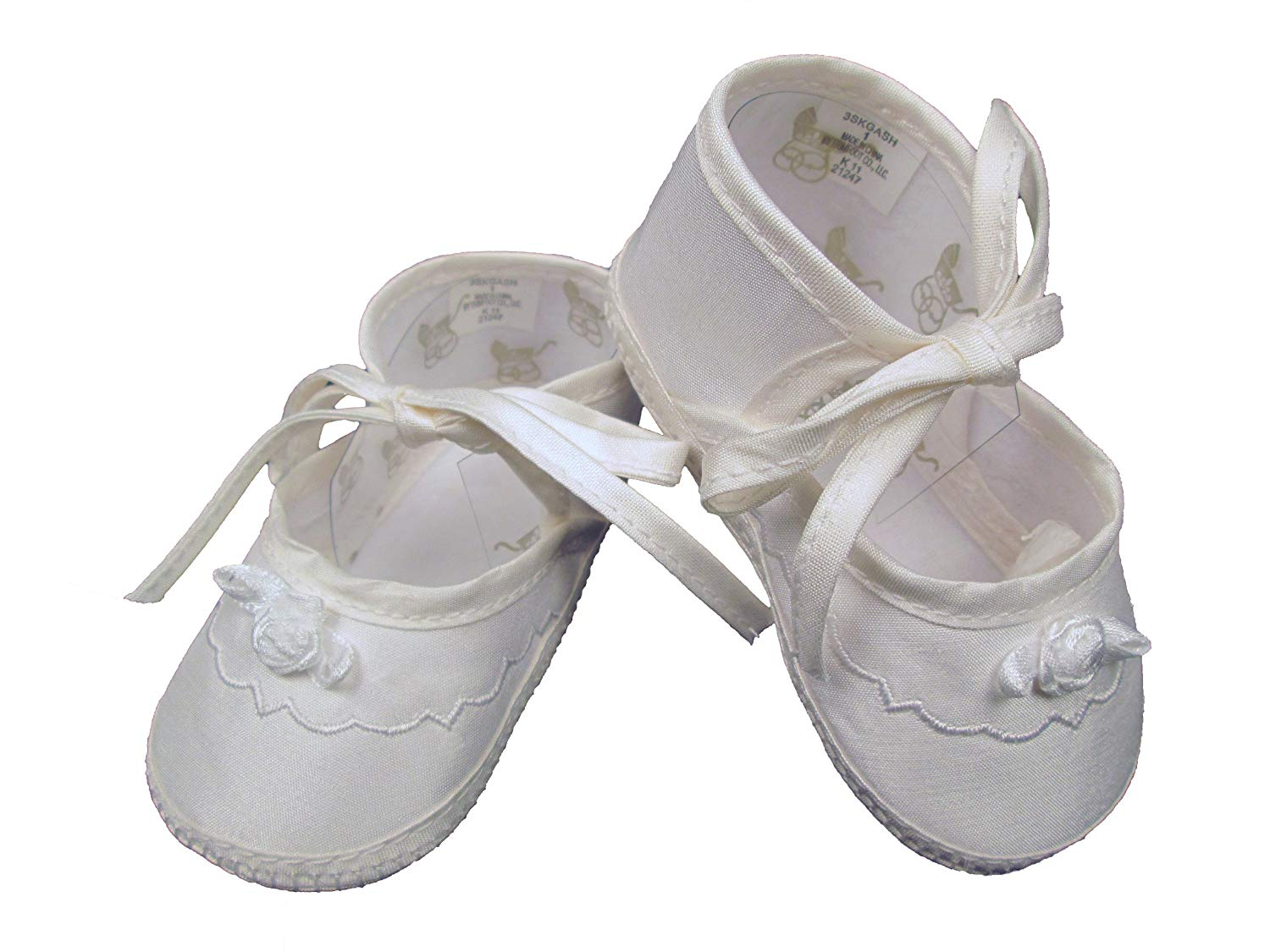 Little Things Mean A Lot Girls Silk Dupioni Christening Shoe