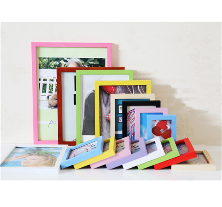 Line surface wood photo picture frame