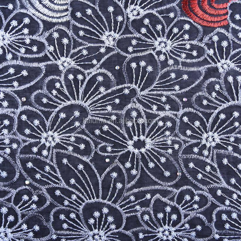 Black Color African Swiss Voile Cotton Lace Fabric With Stones For Wedding New 2019 Nigerian French Lace With Beads 1560
