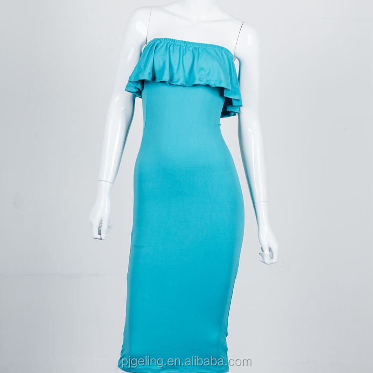 Factory Price Sexy Lady Polyester Blue Dress For Party