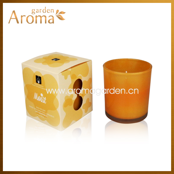 2014 vey hot design 300g scented glass candle with gradient color glass