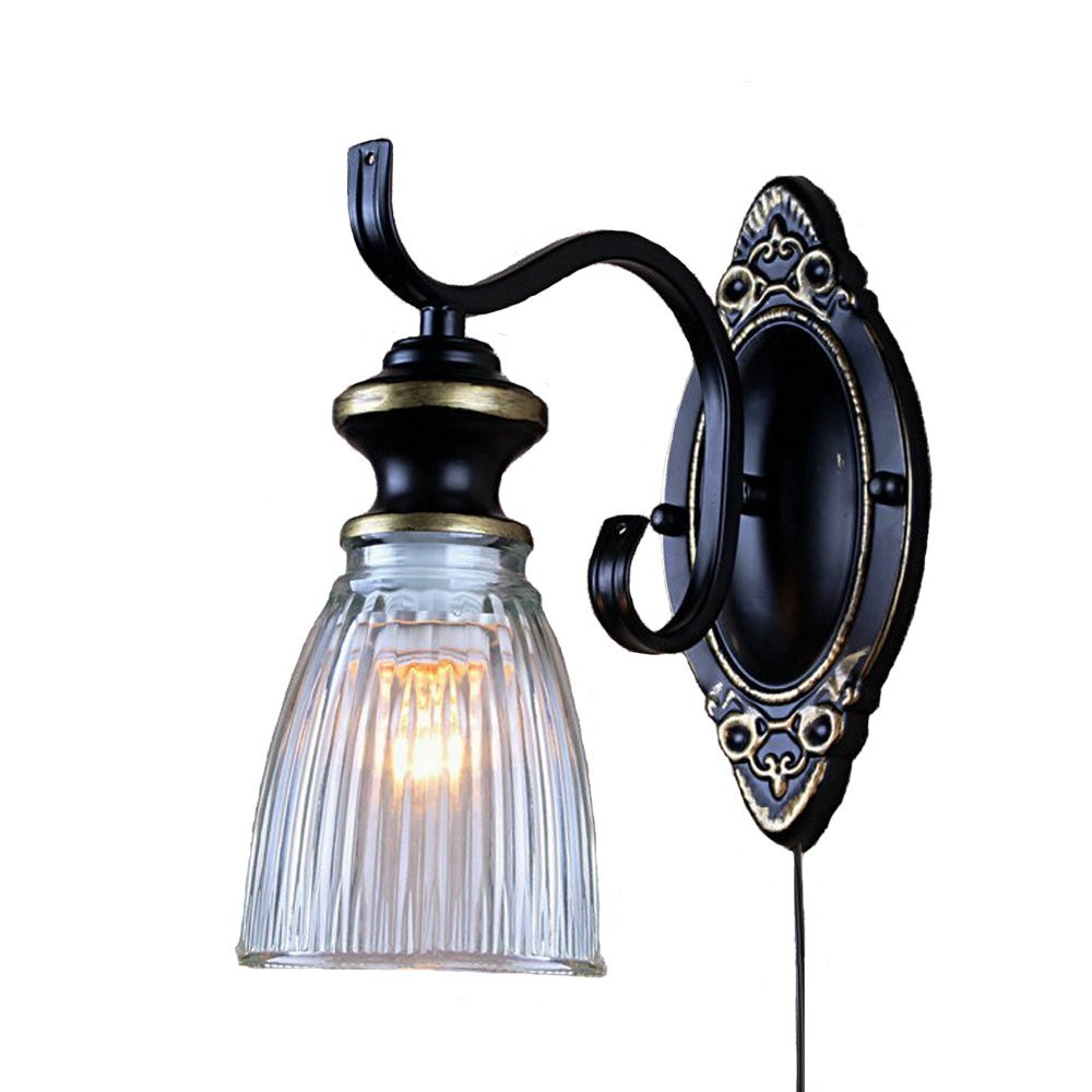 Kiven Antique Industrial Edison Old Fashion Glass UL Certification Plug-In Button Cord LightingWall Sconce Metal Base Cap 1-Light