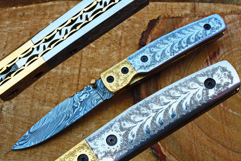 "3.5"" Damascus Blade Custom Handmade Folding knife w/ Engraved Handle, Pocket Clip, File-Work, Liner Lock & Sheath cover UDK-US-A0-101"