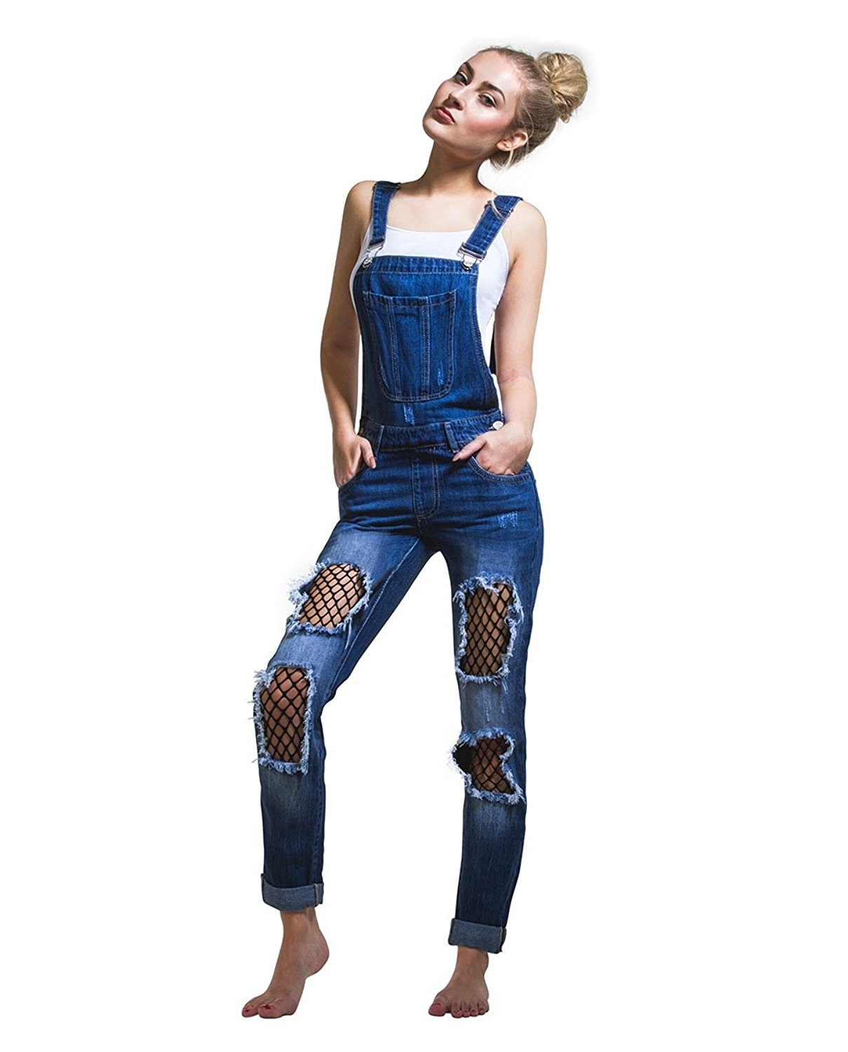 1fa597045c ... Dungarees Jumpsuit Denim Overalls Casual Skinny Girls Jeans Rompers.    24.99. Realty Fishnet-Patch Ripped Denim Overalls Ladies Destroyed  Stonewash Bib ...