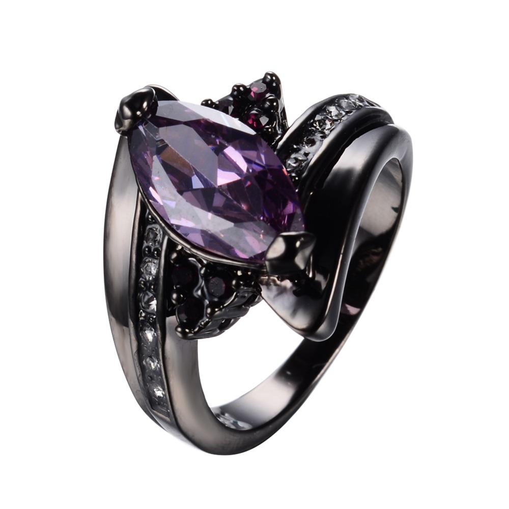 Amethyst Jewelry Horse Eye Purple Zircon Rings For Female