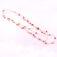 IMG 3832 Yiwu Huilin Jewelry ruby stone necklace designs ball long layer chain necklace for women