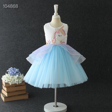 New 2019 dress girls princess dress unicorn skirt European and American children's clothing explosion children's skirt kids dres