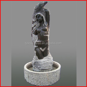 Indoor marble abstract nude lady statue stone women sculpture water fountain