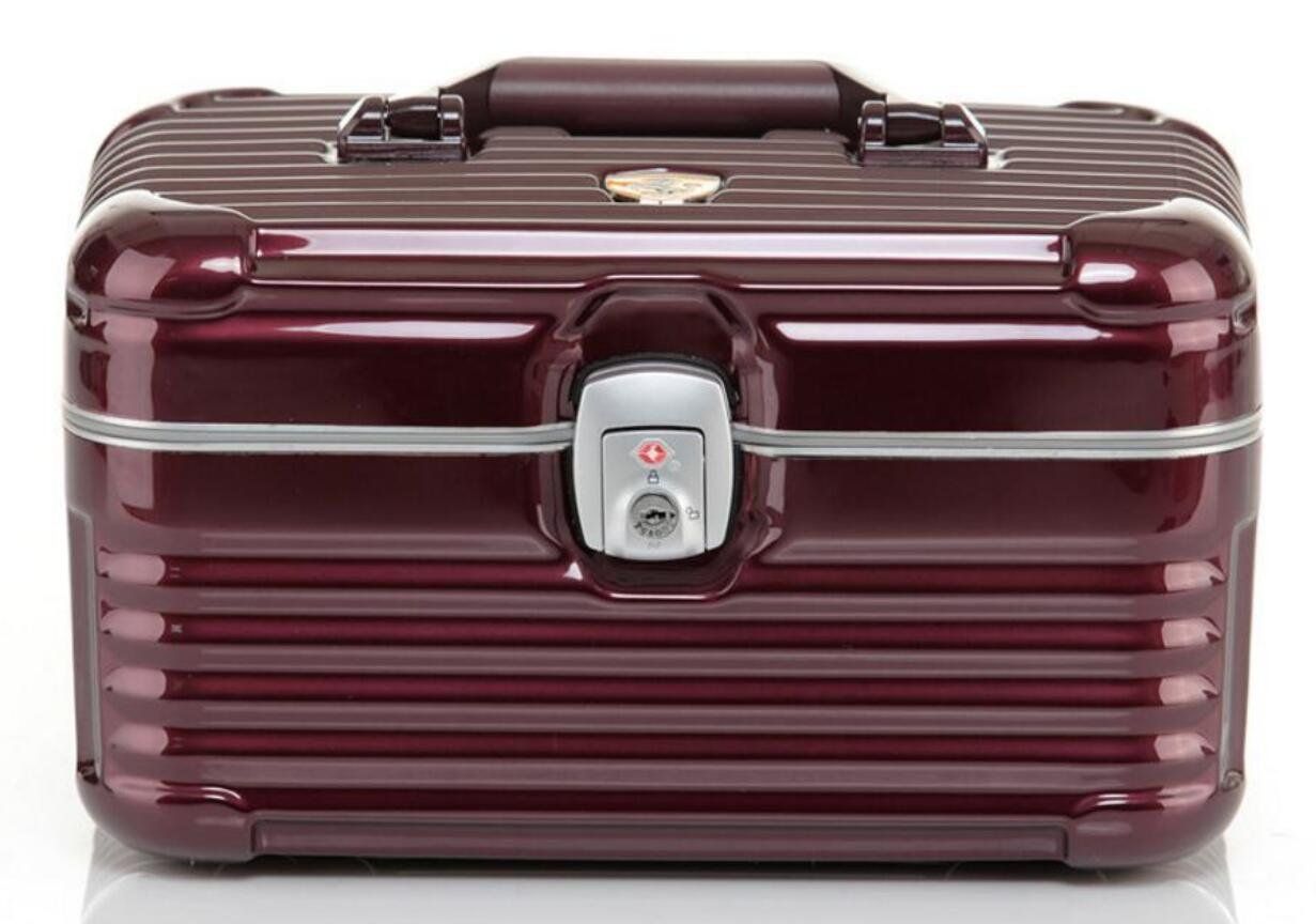 HOYOFO Lockable Portable Makeup Suitcase Cosmetic Train Cases Makeup Storage  Box With Keys (Wine Red