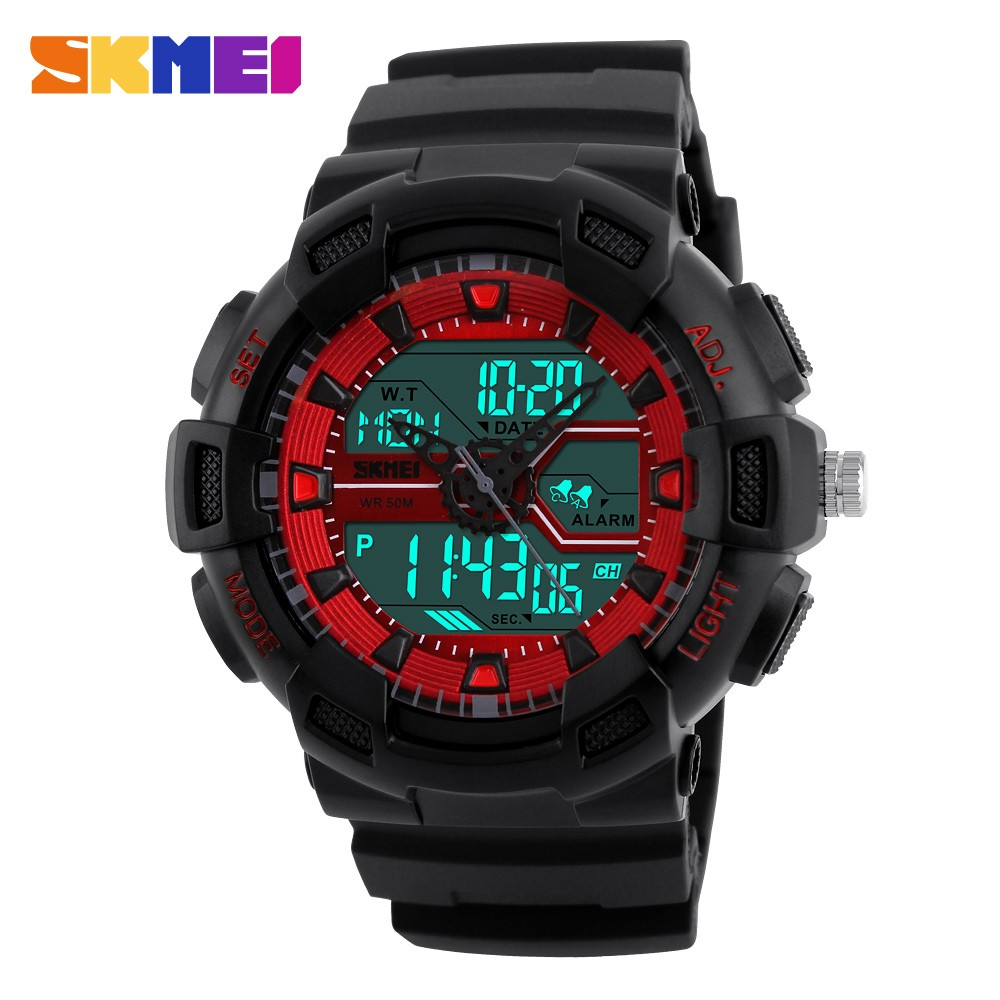 original skmei 1189 sport watch men outdoor dive wristwatch 50m waterproof quartz led clock alarm dual time women military watch