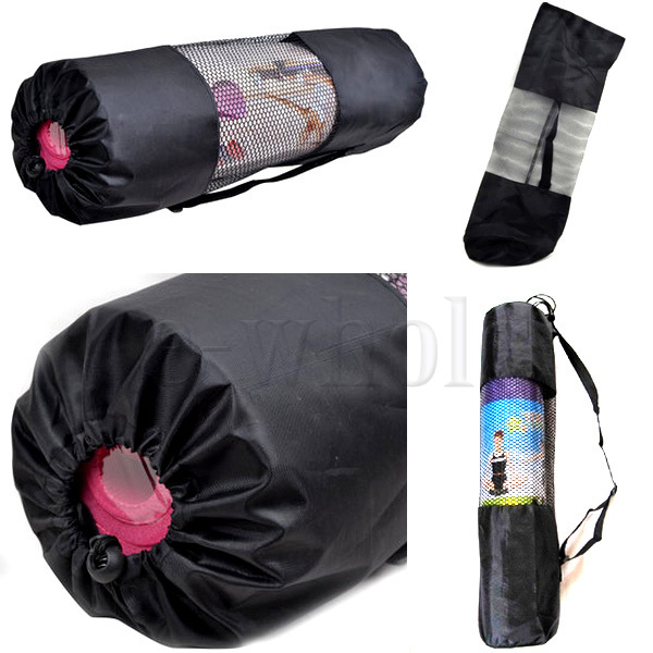 Portable Yoga Pilates Mat Nylon Bag Carrier Mesh Center