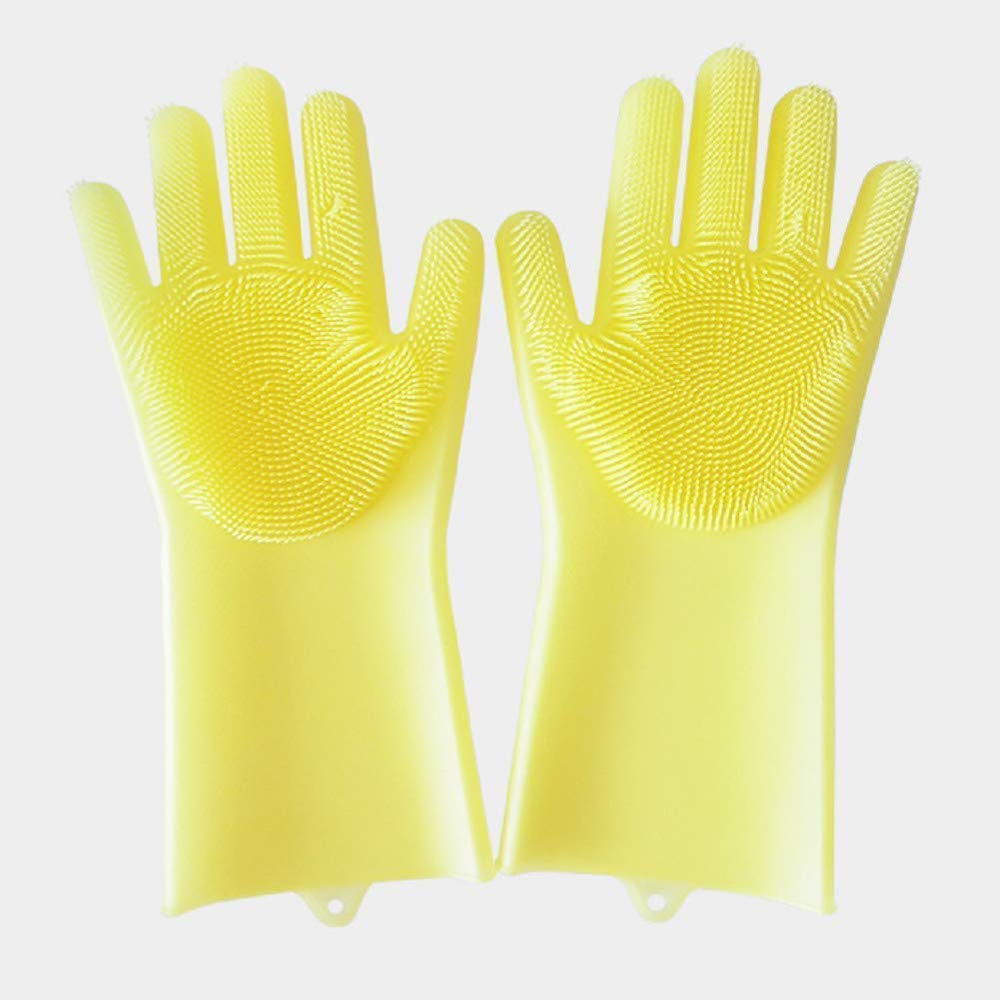 YLCOYO Magic Reusable Silicone Gloves Cleaning Brush Scrubber Gloves Heat Resistant For Dish Wash Cleaning Pet Hair Care