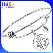 Custom Cheap Stainless Steel Womens Winnie The Pooh Charm Bangle Bracelet