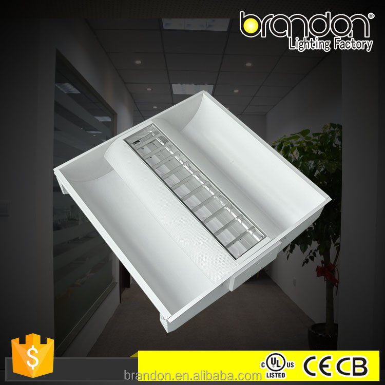 2X2 2X4 Recessed Led Grille Lamp T5 T8 Aluminium Reflector Fluorescent Square Led Office Troffer
