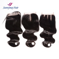 8A Grade Brazilian Virgin Hair Body Wave 4x4 Lace Closure Natural Hairline Free Parting Lace Closure with Baby Hair