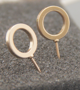 Newest Model Gold Silver Black Alloy Open Circle Stud Earrings