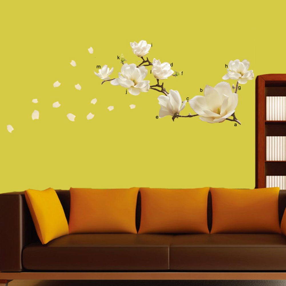Living Bed Room Home Decoration Decor Modern Art Diy Removeable Magnolia Flower Wall Sticker
