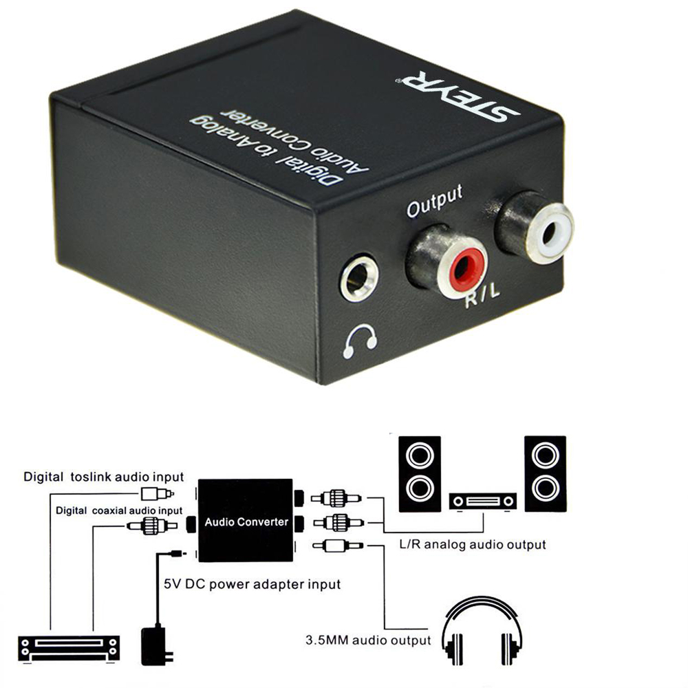 STEYR Digital Optical Toslink Coaxial to Analog RCA Audio Converter