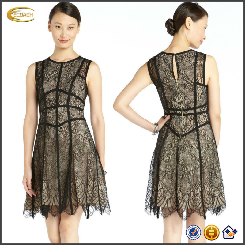 OEM wholesale Grosgrain lattice trim throughout Flared skirt scalloped lace hem Black And Nude Lace Fit And Flare sexy Dress