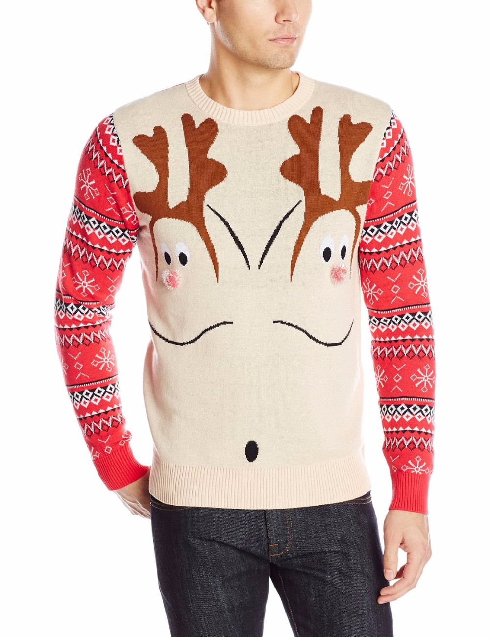 Men light kahki sweater double reindeer pattern christmas jumper men light kahki sweater double reindeer pattern christmas jumper knitting pattern s for adults bankloansurffo Image collections