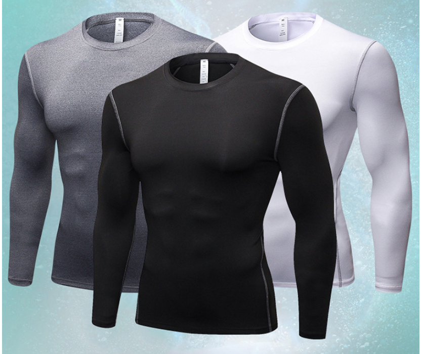 2018 New style Men T-Shirt shirt Tops Quick Dry Fitness O Neck Long Sleeve Slim Fit Compression