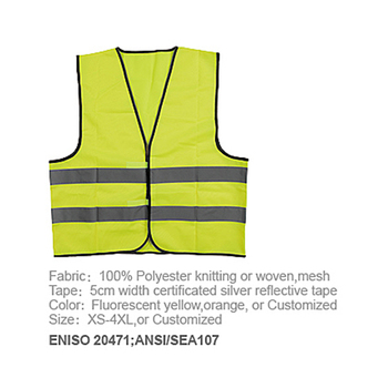High visibility reflective airport traffic fabric safety warning vest