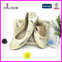 China Suppliers party shoe foldable ladies wedding shoes and bag to match