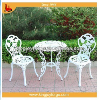 Bistro Set Outdoor Patio Furniture 3 Piece Rose Pattern Cast Aluminum Bistro  Set