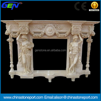 Western Style Antique Indoor Egypt Yellow Marble Fireplaces