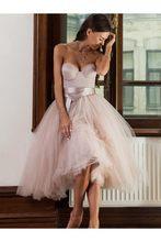Платье без бретелек, Пляжное, до колена, розовое, без бретелек, для свадьбы, 2020(Китай)