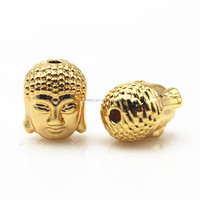 Buddha Head Charms Beads Spacer for Jewelry Making Strand Bracelets Golden Silver Plated Beads 10x8mm