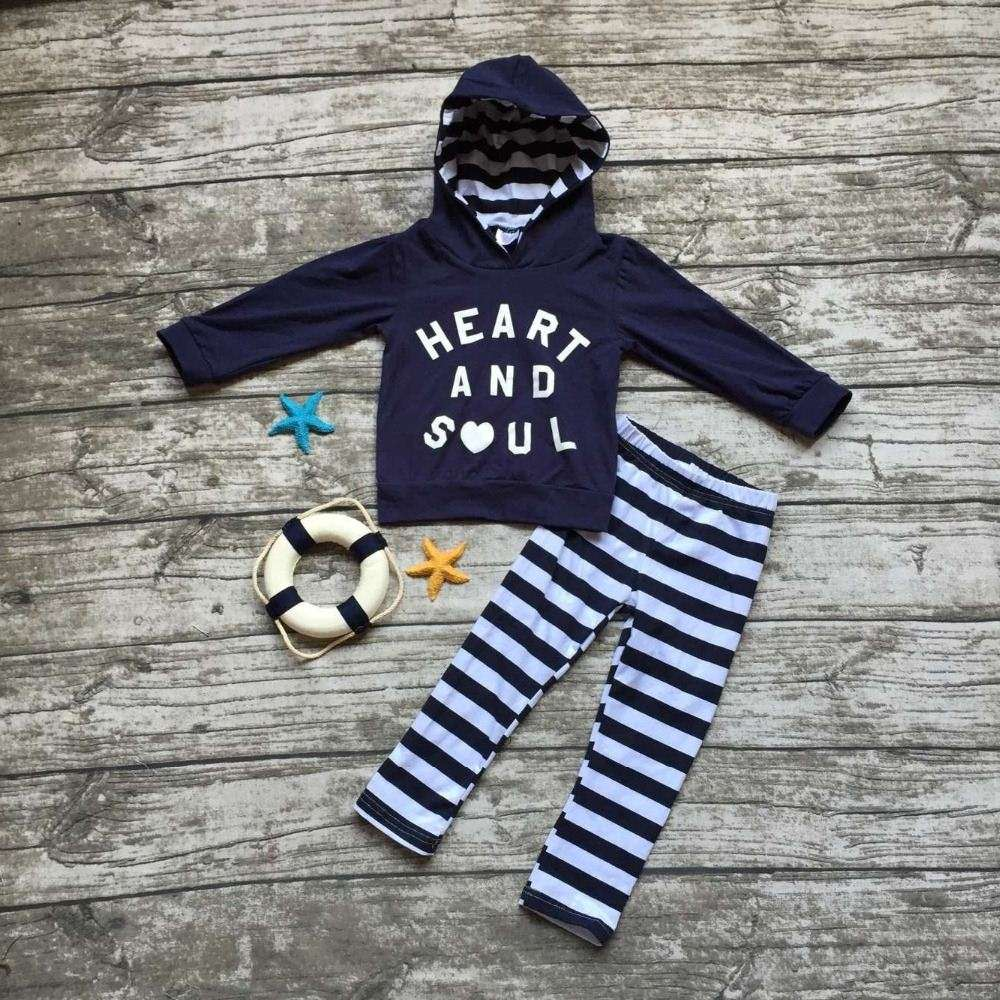 kids Fall clothes baby girls hoodie clothing girls heart and soul outfits girls winter boutiques sets navy blue stripe pant