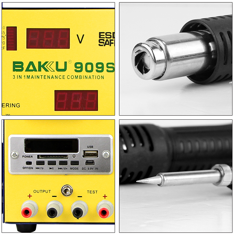 BAKU hot product double digital display 3 in 1 hot air bga soldering station with power supply(BK-909s)