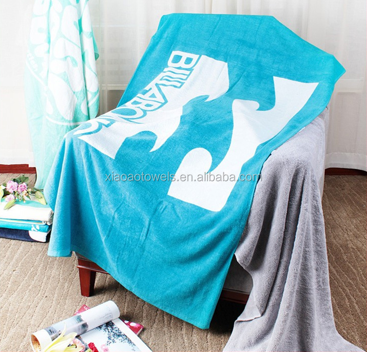 brand new custom logo velvet printed beach towel 100% cotton