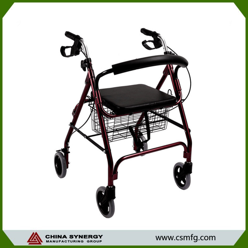 Light weight medical foldable aluminum rollator with wheels walking aids walker