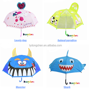 High quality and safe silver glue babies boys girls students OEM ODM 3D animal-shape cartoon kids rain umbrella