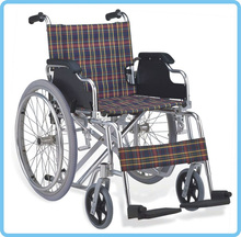 Steel fixed armrest& foortest manual wheelchair with plasitc Rear Tire