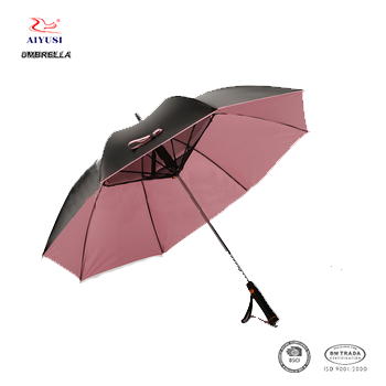 Manual open popular straight golf fan umbrella with uv protect