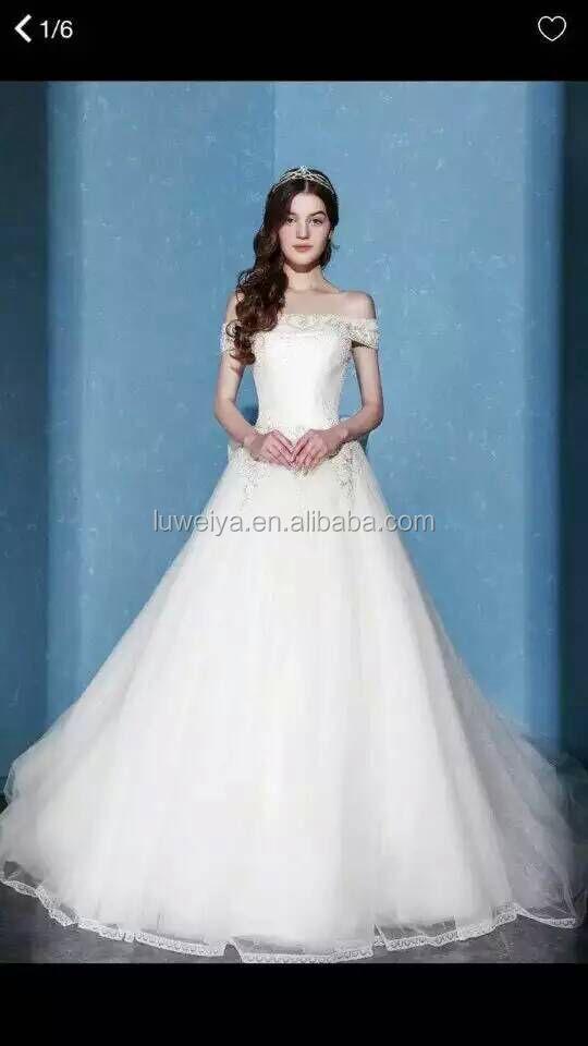 Crystal Beaded Princess Wedding Dress Off Shoulder Bandage Bridal ...