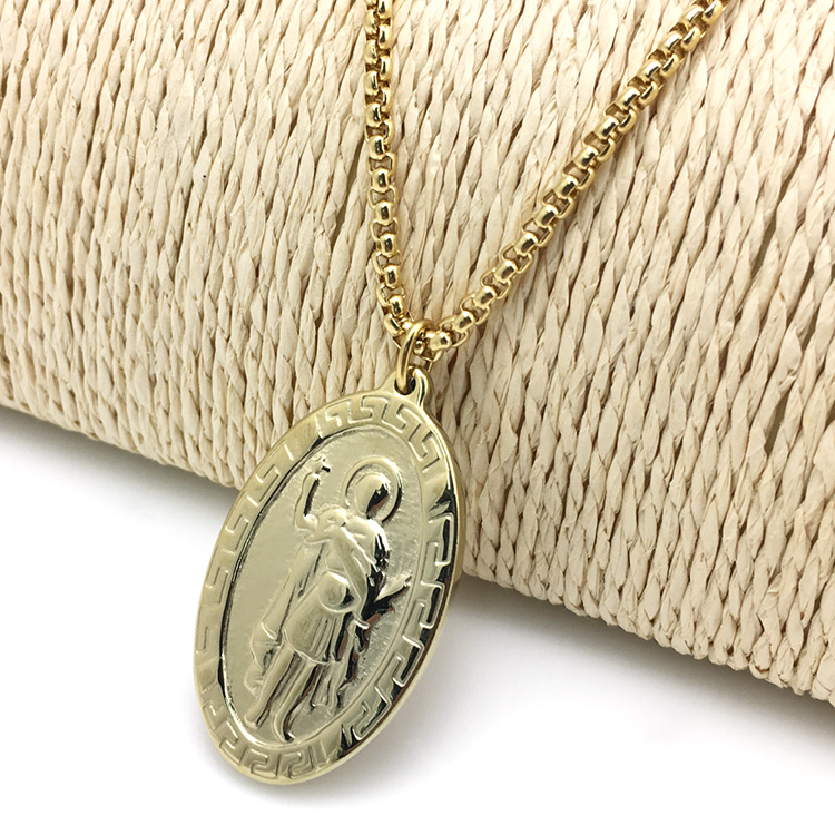 Gold Plated Jewelry Catholic Saint Benedict Medal Necklace With 24 Inch  Chain - Buy Saint Benedict Necklace,Saint Benedict Medal,Catholic Necklace