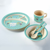 Luxury Hot Sale BPA Free dishwasher safe Biodegradable Bamboo Fiber Baby Dinner Set