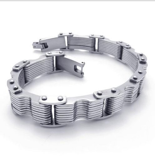 On Sales Limited Edition Prince Charming All-Purpose Style Overlapping Silver Steel Bracelets Width:23mm Length:(22.9.cm)