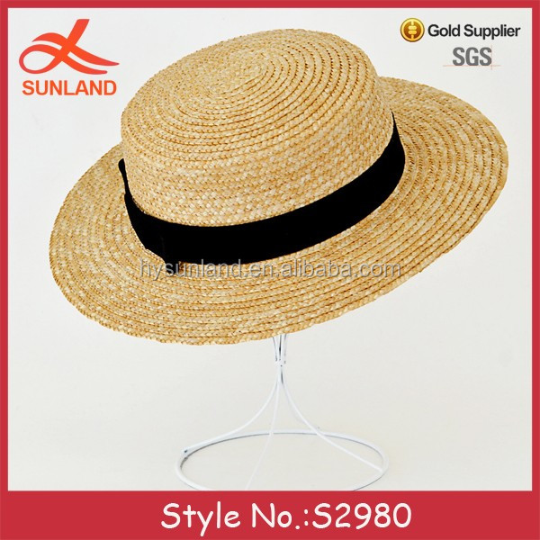New women flat wide brim sun straw boater summer hats cheap with bowknot  for sale 752aef5a671