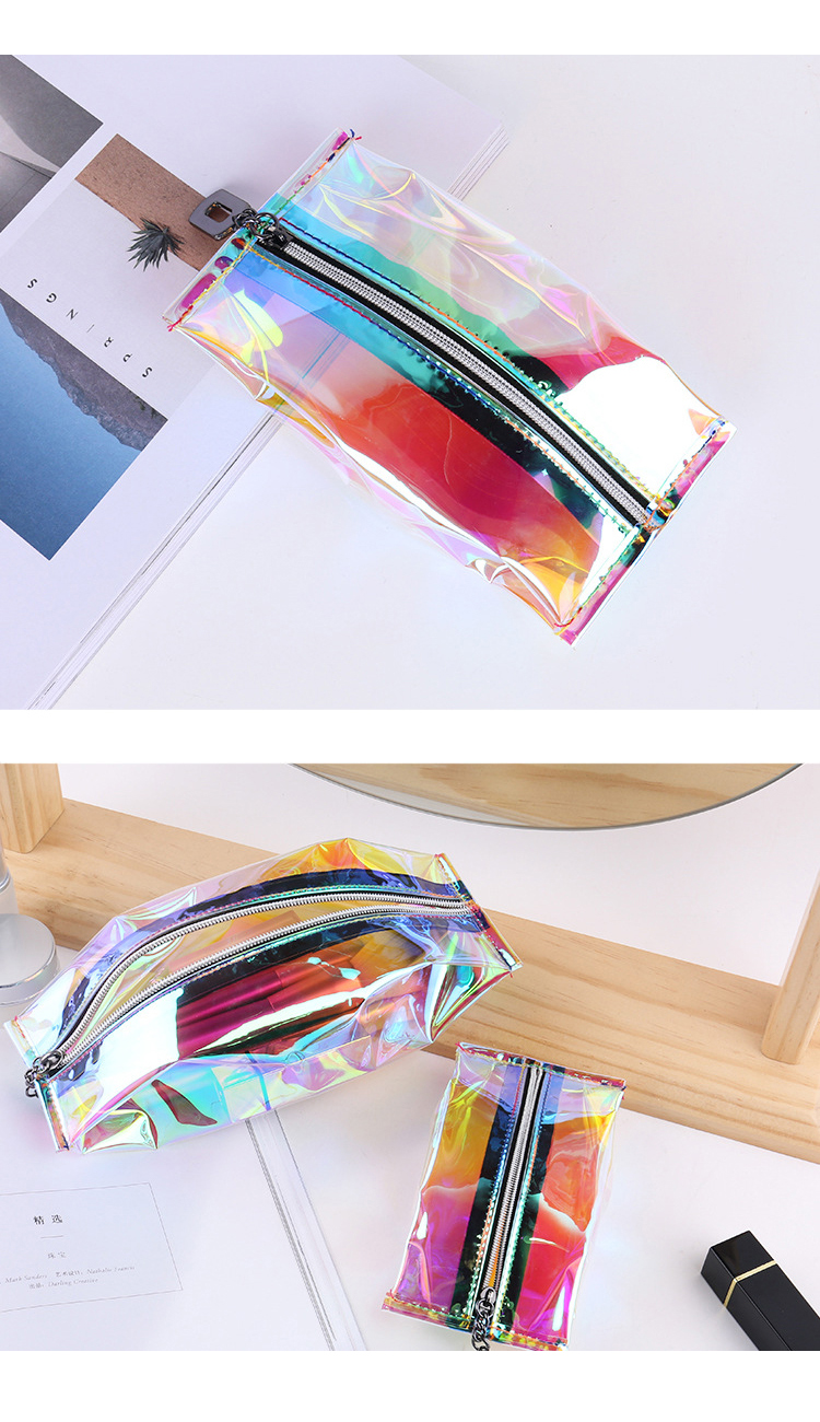 Wholesale Travel Zipper Waterproof TPU Makeup Brush Cosmetic Case Holographic Make Up Bags For Women