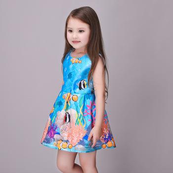 New Design Fashion Summer Kid Princess Dress Floral Dark Blue Novel Girls  Princess Dresses , Buy Evening Dresses Girls,Girls Dresses Summer 2017