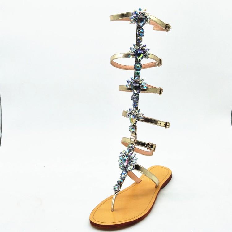 6d8d4513b Aliexpress Ebay Hot Sale Crystal Roman Gladiator Flat Sandal Shoes for women